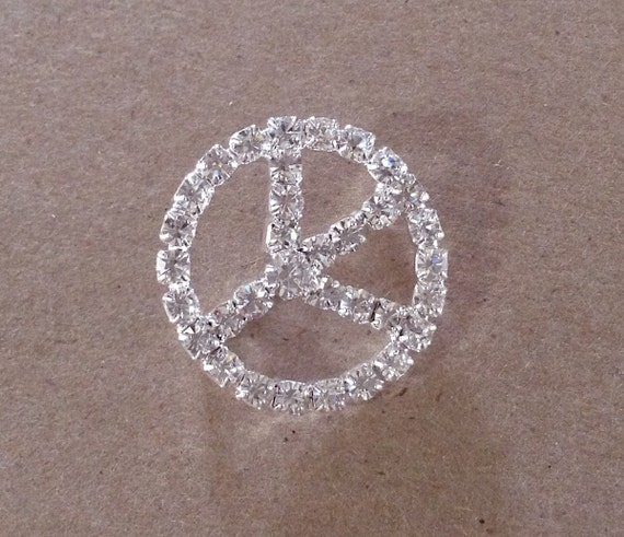 """HUGE Crystal Clear White 1"""" Rhinestone Silver Tone Peace sign Broach Jewel Embellishment large Slider Button Bead Spacer"""