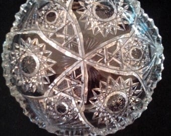 American Brilliant Cut Glass Candy Dish