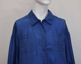 Royal Blue Silk Shirt