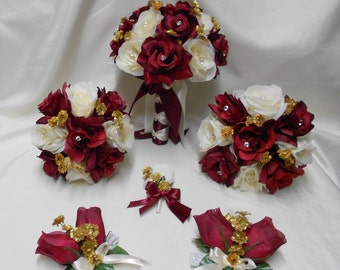 Wedding Silk Flower Bridal Bouquets 18 pieces Package Burgundy Ivory Gold Toss Bridesmaids  Boutonnieres Corsages Centerpieces FREE SHIPPING