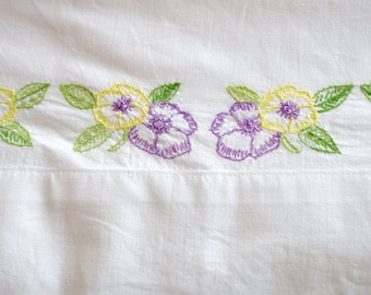 Pillowcase Embroidered Single, Vintage pillowcase, pillowslip, purple and yellow, Grant Maid, Twin bedding, girls bedding, guest bedding,