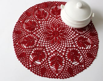 Red cotton lace doily, hand crochet table clothes, center piece, mothers day home decoration, valentines, Ready to ship