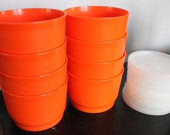 8 New Old Stock Vintage Tupperware Kids Childs Snack Cups , NOS 1229 series Orange cups with lids, 4 ounces