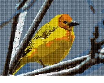 Needlepoint Kit or Canvas: Yellow Bird