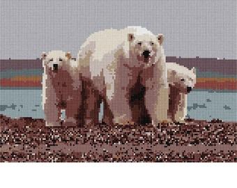 Needlepoint Kit or Canvas: Polar Bears