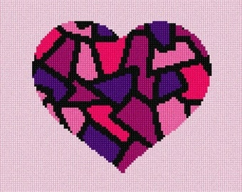 Needlepoint Kit or Canvas: Heart Stained Glass Pinks
