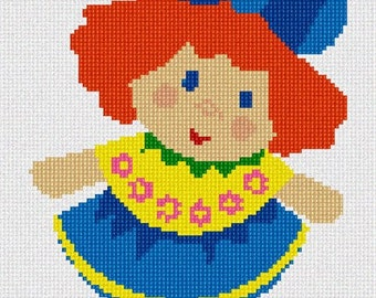 Needlepoint Kit or Canvas: Easy Doll 1