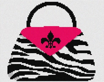 Needlepoint Kit or Canvas: Zebra Fuschia Pocketbook