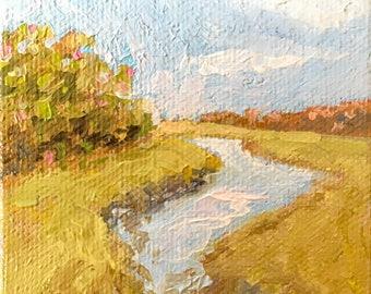 Marsh Lands Miniature oil painting, stretched canvas miniature Maine artist Adrienne Kernan LaVallee