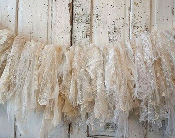 Tattered Lace garland white to ivory antique laces French Nordic tambour embroidered salvaged shabby cottage chic decor anita spero design