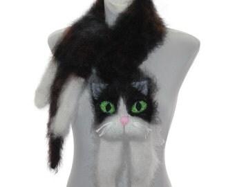 Knitted Scarf  / animal scarf /  Fuzzy black brown white  Soft Scarf / Pet portrait / cat scarf / knit cat scarf / animal scarf