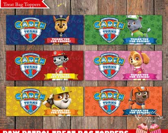 Paw Patrol Theme Birthday Treat Bag Toppers Labels Personalized