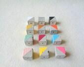 Concrete Pendats 16mm, Set of 3 Hand casting Cube, DIY Goncrete Necklace, Geometric Jewelry