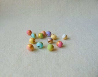 Round Wood Beads 10mm, Hand-Painted natural wood beads, Gold & Pastels Set, DIY necklace