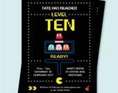Pacman Birthday Gaming Party Invite, Retro Arcade Games Party Invite Editable Text, Retro Party, 10th, 20th, 16th, 40th Birthday