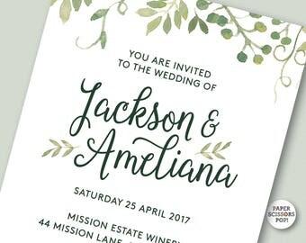 Wedding Invitation, Printable Garden Wedding Invitation Botanical Invitation, Rustic Calligraphy Invitation, Green Wedding Invite Boho Decor