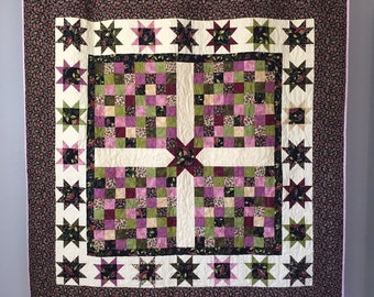 Pink & Black Paisley Star Quilt