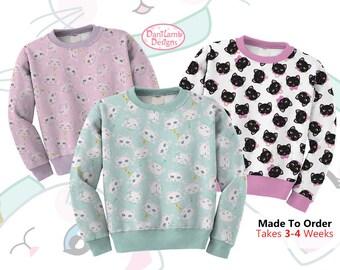 Kawaii Cat Sweater Cat Heads Sweatshirt Fairy Kei Cat Cat Kitten Kitty Pattern Size XS Through 3XL *MADE 2 ORDER, Month*