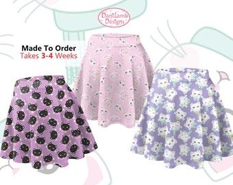 Kawaii Cat Skirt Cat Heads Shirt Fairy Kei Cat Skater Skirt Kitten Kitty Pattern Size XS Through 3XL *MADE 2 ORDER, Month*