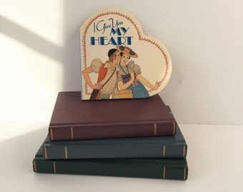 Miniature Valentine's Book, Vintage Heart-Shaped Book I Give You My Heart, Art Deco Illustrations by George Barbier, Gift for Lovers