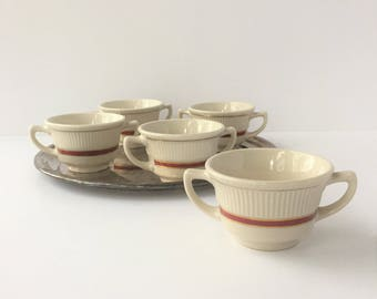 Boullion Cups, Vintage Shenango China Anchor Hocking Cups, Burgundy Maroon Gold Stripe Cups, Set of Five Hotel Style Broth Consomme Cups