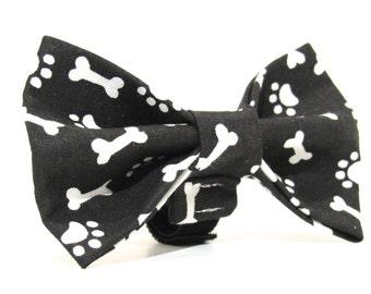 Paw Print Dog Bowtie, Dog Bow Tie, Dapper Bowtie