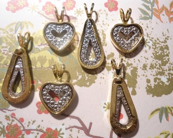 6 Assorted Goldplated Heart and Teardrop Pendants
