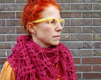 Shawl, gift, Christmas, wool, wrap, gift for her, shrug, triangle, wool, raspberry, scarf