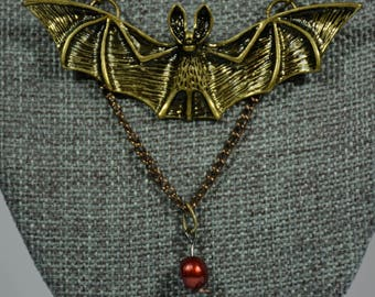 Bat with Blood Red Faux Pearl