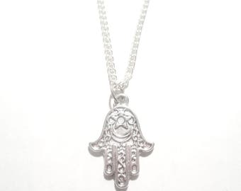 Hamsa Necklace. Hamsa Hand Necklace. Hamsa Pendant. Protection Amulet. Hand of Fatima. Protection Jewelry.
