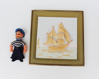 Vintage straw art 3 D Sailboat wall hanging Gift for sailor Soviet vintage straw wall hanging Ship wall decor Ship wall decoration