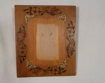 Antique Wood Picture Frame Wood Burned Folk Art Floral Pyrography