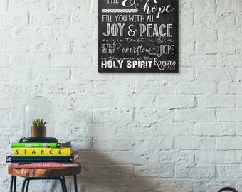 Scripture Art - Romans 15:13 Chalkboard Print