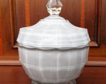 Hand Painted Vintage Cut Glass Trinket Dish