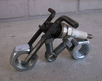 Motorcycle Model Metal Spark Plug Sculpture Art
