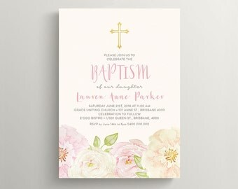 Christening Invitation \ Baptism Invitation \ Girl Invitation \ Floral Watercolour Invitation \ Printable Invitation (CR08)