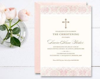 Girl Christening Invitation, Girl Baptism Invitation, Printable Invitation Pink Vintage Damask Invite (CR01)