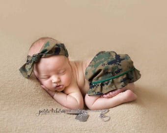 Military inspired Newborn Skirt and Knotted Headband, Marines, Navy, Air Force, Coast Guard