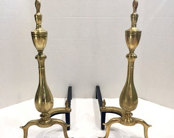 Antique Pair Brass Fireplace Andirons - Federal Colonial Style Clawfoot Ball & Claw Urn Top - Queen Anne Victorian Style Home Decor Fine