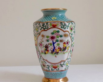 Mid Century Hand Painted Porcelain Vase Featuring Rooster by Ardalt Lenwile - Vintage Japanese Pottery Oriental Chinoiserie Decor Accessory