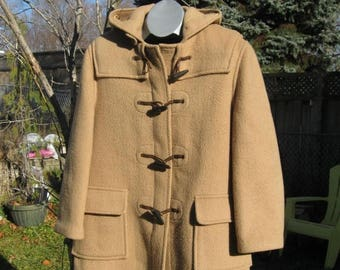 SALE Gloverall 1970 80s Duffle Coat Women Made in England Wool, Horn toggle US16,UK size 40 Fr 46, Hooded Monty Stadium Coat