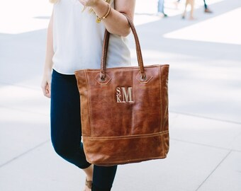 Rustic Leather Tote Purse Monogram Womens Personalized