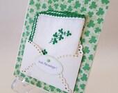 St. Patrick's Vintage Embroidered Handkerchief Clovers Shamrocks Irish Ireland Green Ladies Accessory Keepsake Blessings Gift Hanky Card