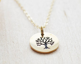 Tiny Tree of Life Necklace - Family Tree Necklace - Charm Jewelry - Gold Filled & Bronze Jewelry - Layering Necklace - Layered