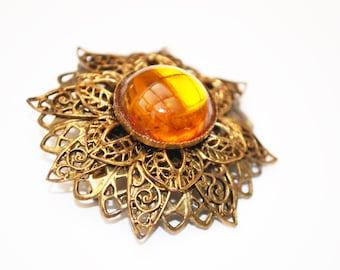 Gold  Amber Flower brooch - Amber citrine Orange Glass -   Brass Filigree Pin