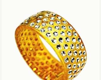 Celluloid Bangle -Sparkle Rhinestone  - Amber yellow orange  - Apple juice -Hinged  Bracelet
