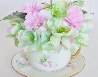 Teacup Silk Flower Arrangement, Small Mint Roses, Pink Cherry Blossoms, Vintage Cup & Saucer, Artificial Silk Flower Teacup Arrangement,