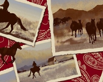 Ranch Hands Postcards Red - Windham Fabrics - 42579-2