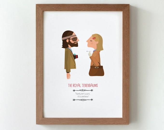 Illustration. The Royal Tenenbaums. Print. Wall art. Art decor. Hanging wall. Printed art. Decor home. Gift idea. Bedroom. Sweet home.