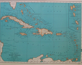 RARE Map of the CARIBBEAN Map West Indies Map Rare Poster Print Size Vintage 1947 Map Map Collector Gift For Traveler 7340